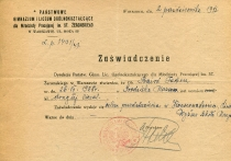 Certificate of Żeromski High School