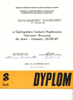 Dyplom festiwalu DO-RE-MI
