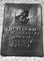 A plaque on the wall of the Zielona Góra Philharmony