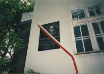 A commemorative plaque on the wall of the composer's house in Warsaw
