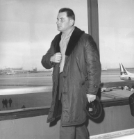 Tadeusz Baird at the airport in Madrid